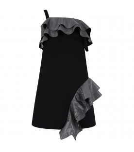 BALMAIN KIDS Black girl dress with silver details