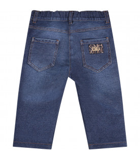 DOLCE & GABBANA KIDS Blue babygirl jeans with colorful patches