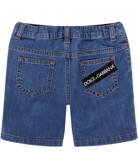 DOLCE & GABBANA KIDS Denim blue babyboy short with white logo