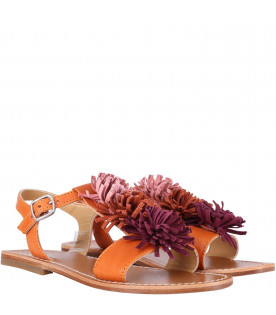 GALLUCCI KIDS Girl leather sandals with floreal decoration