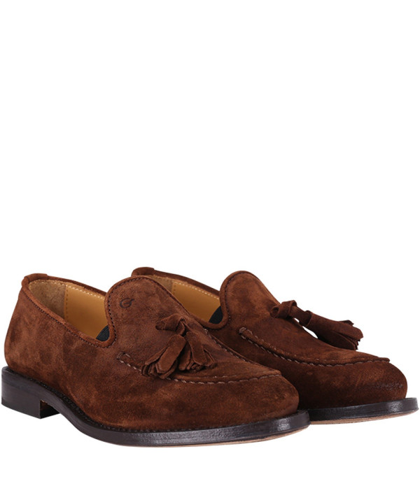 GALLUCCI KIDS Brown suede children mocassins with tassels