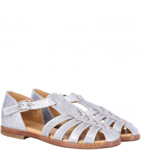 GALLUCCI KIDS Silver glittered leather sandals for girls