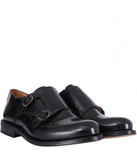 GALLUCCI KIDS Leather shoes with double buckle