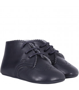 GALLUCCI KIDS Blue leather babies laced-up shoes