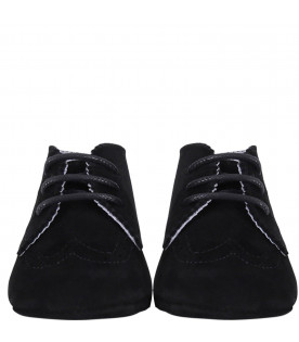 GALLUCCI KIDS Black suede babies laced-up shoes