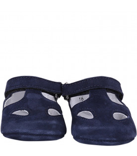 GALLUCCI KIDS Blue navy suede baby sandals