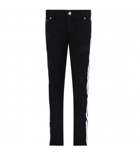 DOLCE & GABBANA KIDS DOLCE&GABBANA Black denim trousers with rips and white stripes