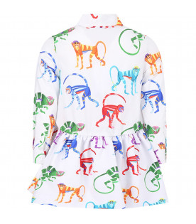 STELLA JEAN KIDS Dress with multicolor monkeys fantasy