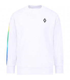MARCELO BURLON KIDS White boy sweat-shirt with logo and wings and colored barcode print