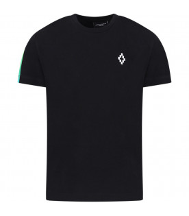 MARCELO BURLON KIDS Black boyy t-shirt with logo and wings and colored barcode print
