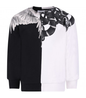 MARCELO BURLON KIDS Black and white boy sweatshirt with colorful snakes and wings