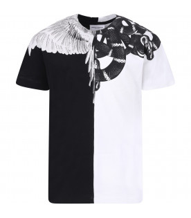 MARCELO BURLON KIDS Black and white boy T-shirt with colorful snakes and wings