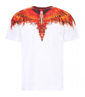 MARCELO BURLON KIDS White boy T-shirt with red fire wings