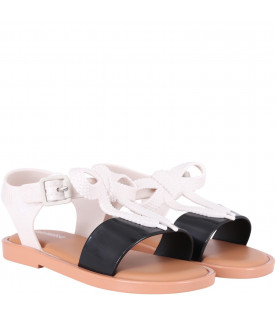 MINI MELISSA Colorful girl sandals with white bow