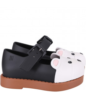 MINI MELISSA Black and beige girl ballerina flats with bear