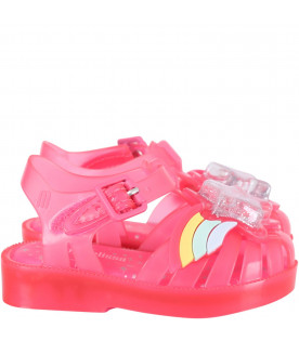 MINI MELISSA Fuchsia girl sandals with silver star