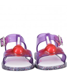 MINI MELISSA Purple girl sandals with red lollipop