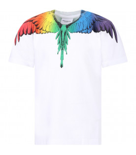 MARCELO BURLON KIDS T-shirt bambino bianca con piume colorate