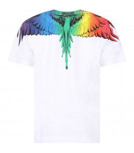 MARCELO BURLON KIDS White boy T-shirt with colorful feathers