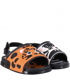 Colorful kids sandals with zebra and leopard