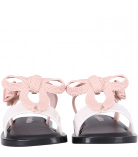 MINI MELISSA Colorful girl sandals with pink bow