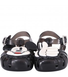 MINI MELISSA Black boy sandals with colorful Micky Mouse