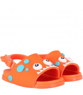 Orange boy sandals with dino