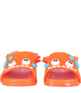 MINI MELISSA Orange boy sandals with dino