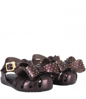MINI MELISSA Black girl sandals with bow