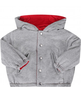 BURBERRY KIDS Red and grey babyboy jacket with logo