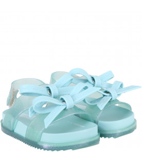 MINI MELISSA Aquamarine girl sandals with bows