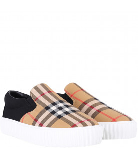 BURBERRY KIDS Black kids slip-on with iconic check