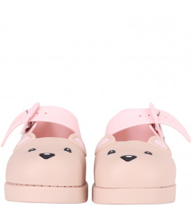 MINI MELISSA Pink and beige girl ballerina flats with bear