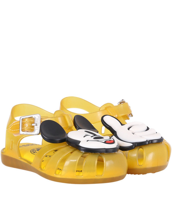 MINI MELISSA Yellow boy sandals with colorful Micky Mouse
