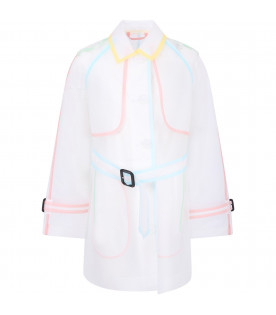 BURBERRY KIDS Clear girl trench coat with colorful details