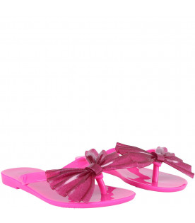 MINI MELISSA Fucshia girl flip flops with bow