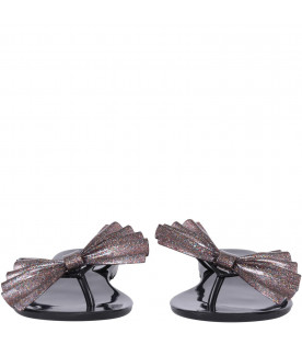 MINI MELISSA Black girl flip flops with purple bow