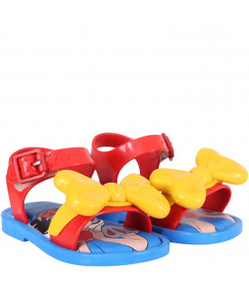 MINI MELISSA Red girl sandals with yellow bow