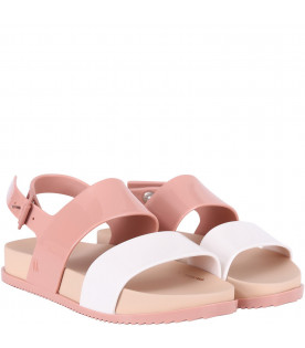 MINI MELISSA Pink and white girl sandals