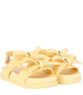 MINI MELISSA Yellow girl sandals with bows