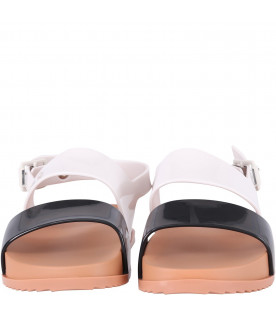 MINI MELISSA Black and white girl sandals