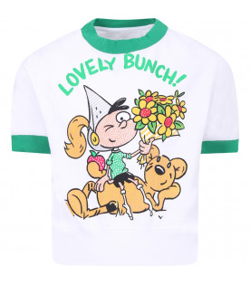 BURBERRY KIDS White girl T-shirt with colorful print