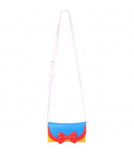 MINI MELISSA Light blue and yellow girl bag with red bow