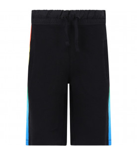 MARCELO BURLON KIDS Black boy short with colorful barcode