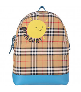 BURBERRY KIDS Vintage kids checked backpack with black logo