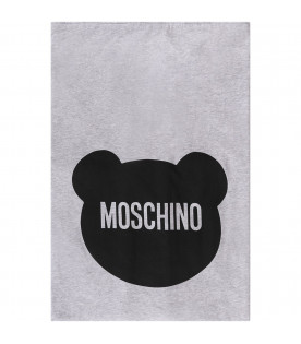 MOSCHINO KIDS Melanged grey newborn blanket with black Teddy Bear