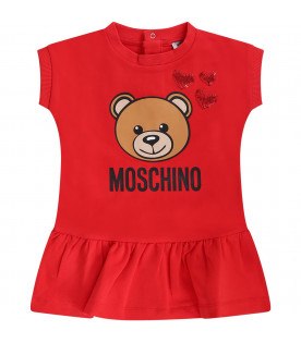 MOSCHINO KIDS Red baby girl dress withe Teddy Bear and hearts