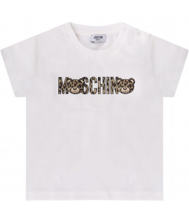 MOSCHINO KIDS White baby girl t-shirt with spotted