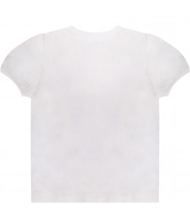 MOSCHINO KIDS White baby girl t-shirt with Teddy Bear and hearts
