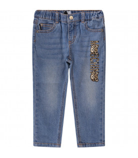 MOSCHINO KIDS Baby girl jeans with spotted logo